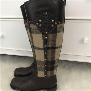 Tory Burch Colleen Plaid Riding Boot no box